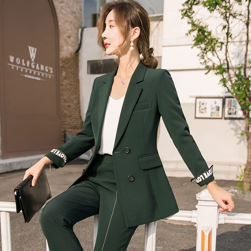 Women's Suits 2019 Autumn And Winter New Fashion Temperament Slim Professional Wear Casual Trousers Women's Two-piece Suit