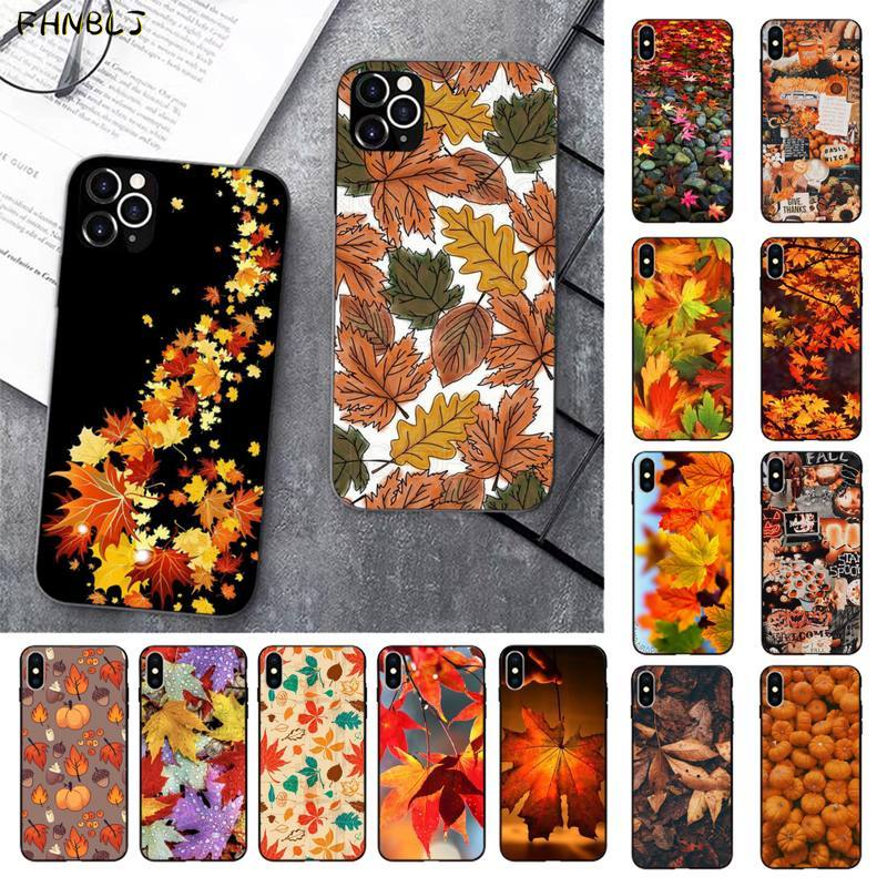 FHNBLJ Autumn leaves fall fox pumpkin Halloween Splendid Phone Case for iPhone 11 pro XS MAX 8 7 6 6S Plus X 5 5S SE 2020 XR