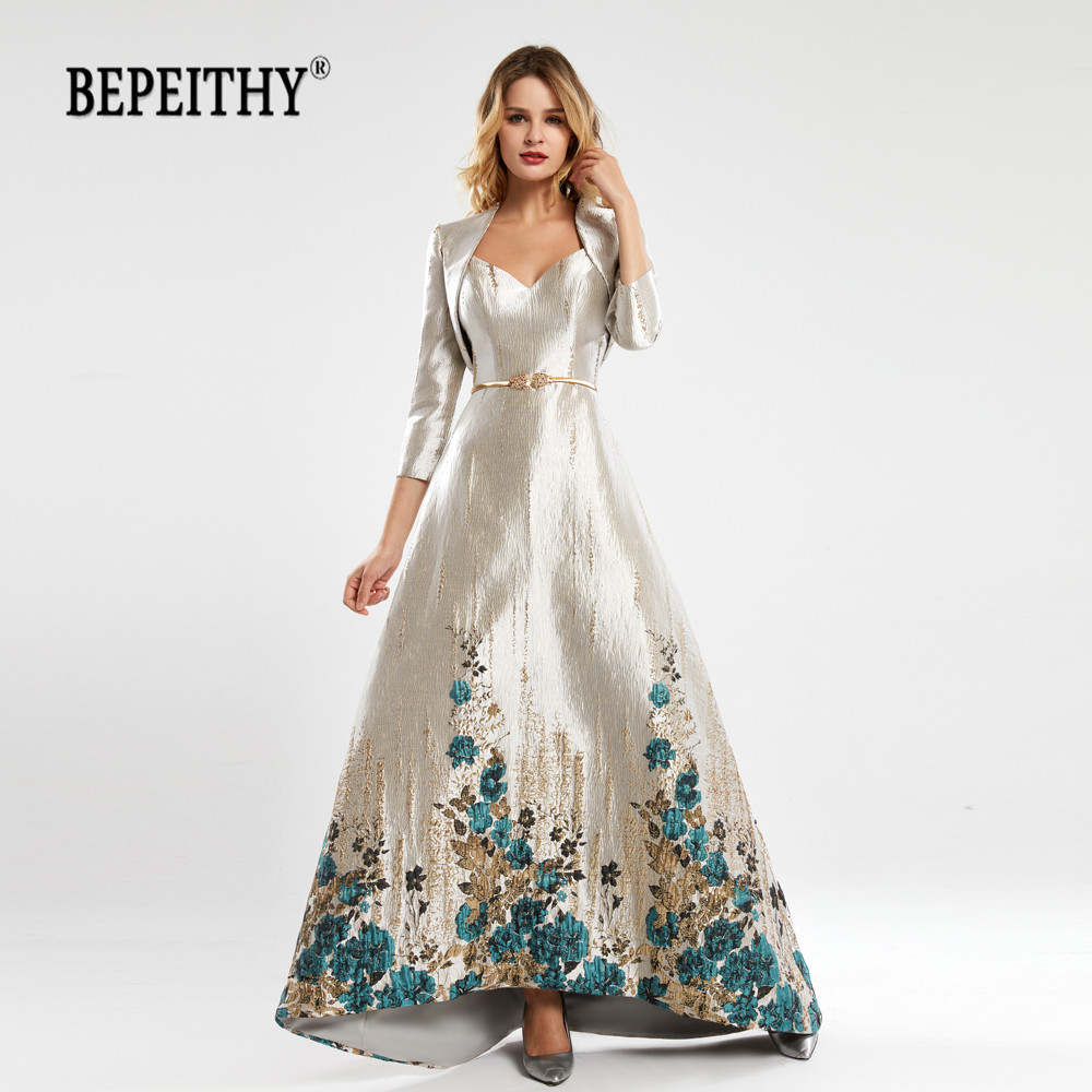 BEPEITHY A-line Lace Evening Dress Floor Length Vintage Robe De Soiree Evening Gown With Jacket платье вечернее  2020 New