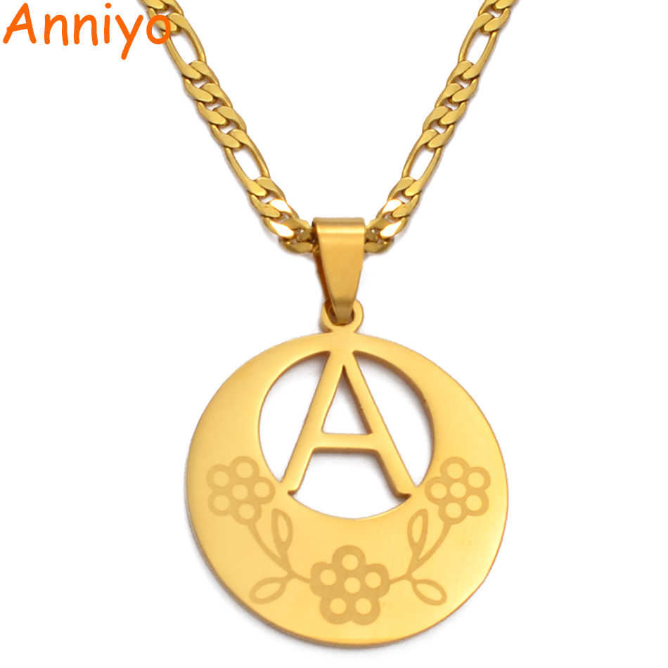 Anniyo 3CM kwiat średni A-Z zawieszka w kształcie litery naszyjniki kobiety mężczyźni angielski ABC łańcuch początkowy alfabet Guam hawaje biżuteria #134321