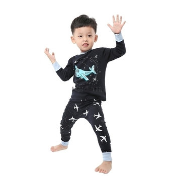 100 Cotton Boys and Girls Long Sleeve Pajamas Sets Children's Sleepwear Kids Christmas Pijamas Infantil Homewear Nightwear - PA07, 8