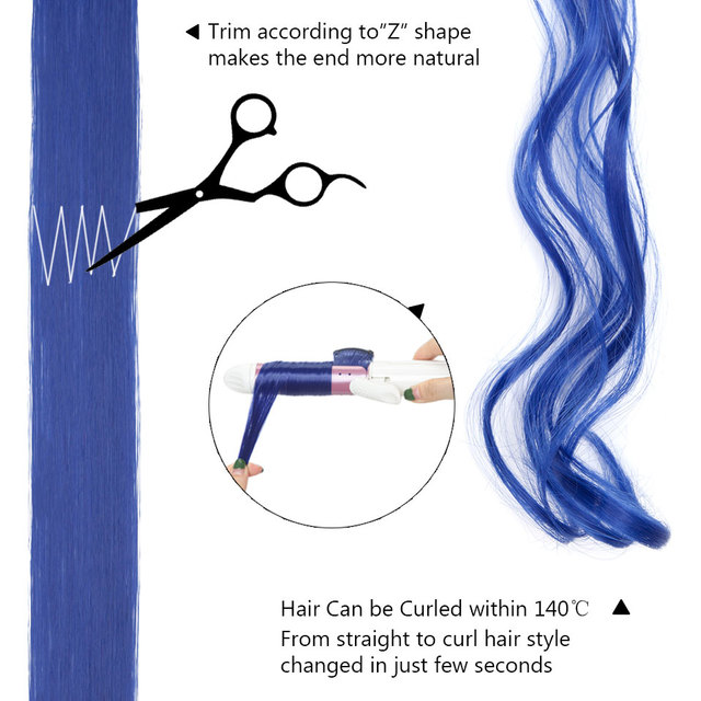 S-noilite-extensiones de cabello sintético con Clip, paquete de extensiones de cabello sintético de 20 pulgadas, de Color liso y largo, con tiras para el cabello