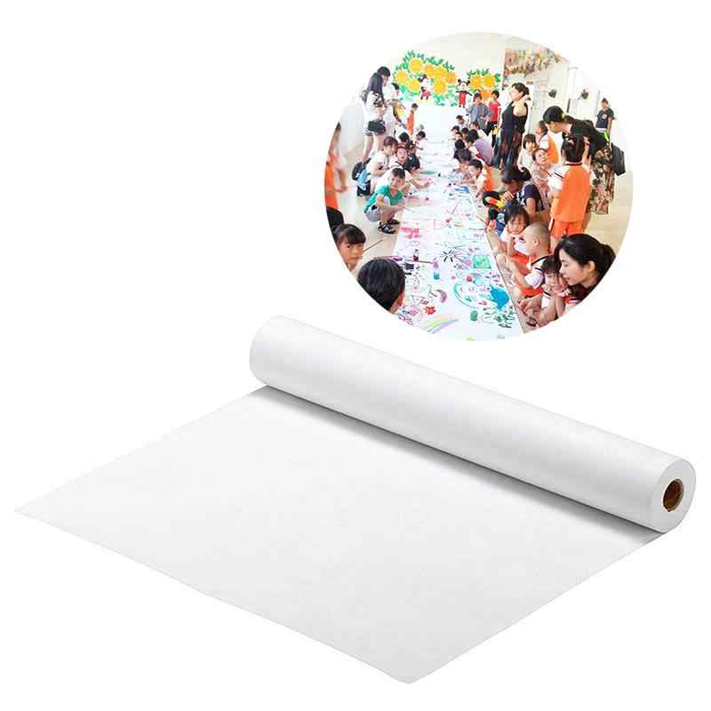 3pcs white drawing paper roll poster paper craft paper roll wrapping paper for home preschool diy art project 44 5x500cm