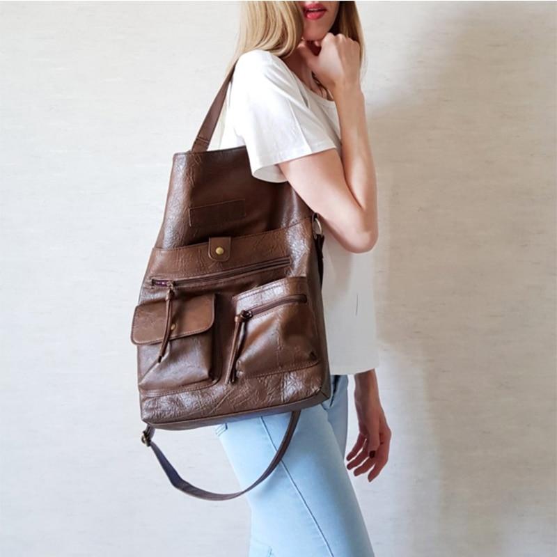 Женские сумки большой вместимости из искусственной кожи, сумки через плечо для девочек, женские высококачественные повседневные сумки чер...