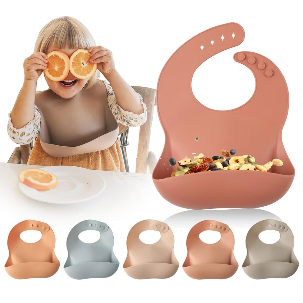 Silicone Bibs Tableware Feeding Toddler Newborn-Baby Waterproff Kids Breakfast for 1pc