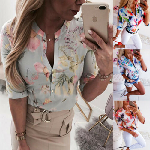 2019 New Arrival Summer Women 3/4 Sleeve Floral Loose Blouses Tops Woman Female Shirt OL Ladies Casual Button Blouse Streetwear