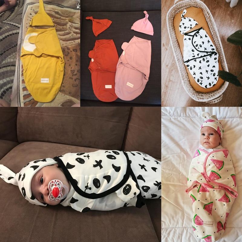 Novorojenček zavijte zavitje in klobuk bombaž dojenček prejme - Posteljnina - Fotografija 5