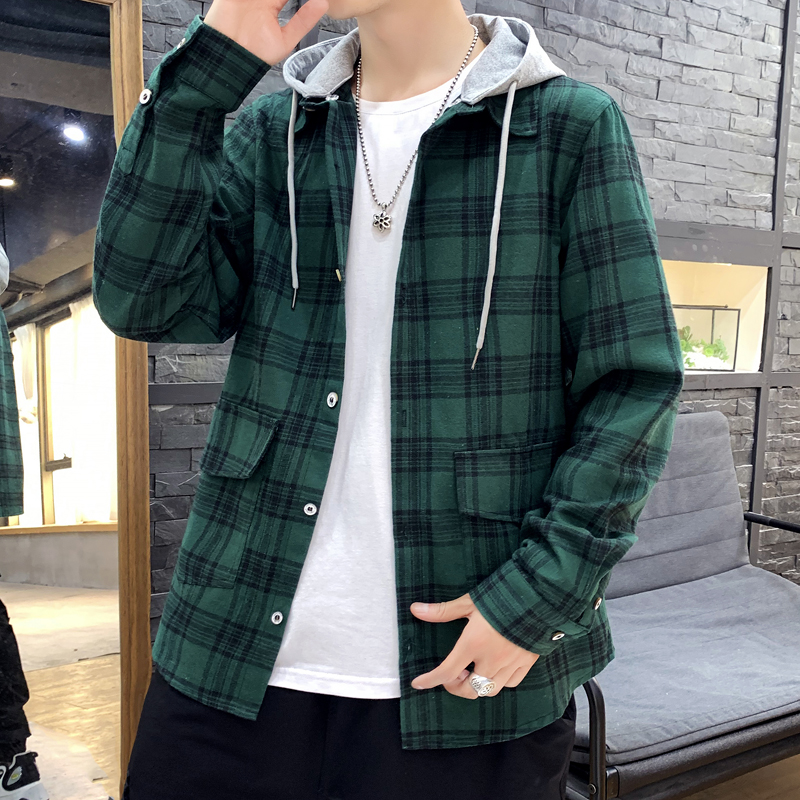 Korea Style Casual Cardigan 2020 Spring Autumn ROCK PUNK Hoodie Plaid  Sweatshirt Men'S Fleece Hip Hop Streetwear Clothes