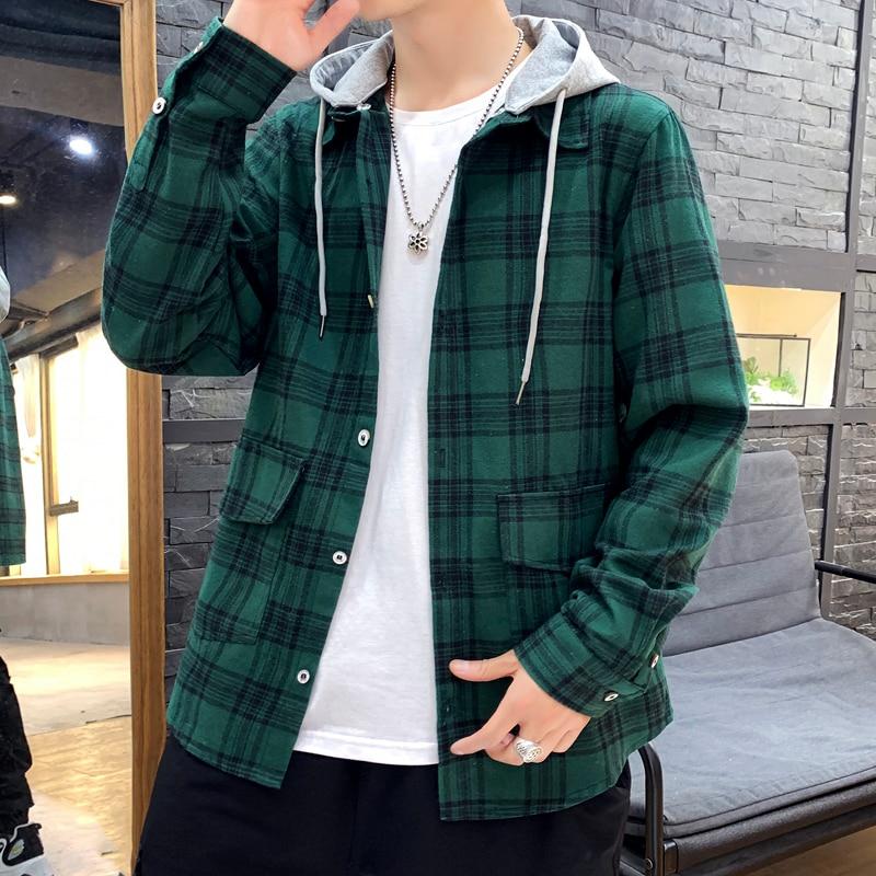 Korea Style Casual Cardigan 2020 Spring Autumn ROCK PUNK Hoodie Plaid Sweatshirt Men'S Fleece Hip Hop Streetwear Clothes
