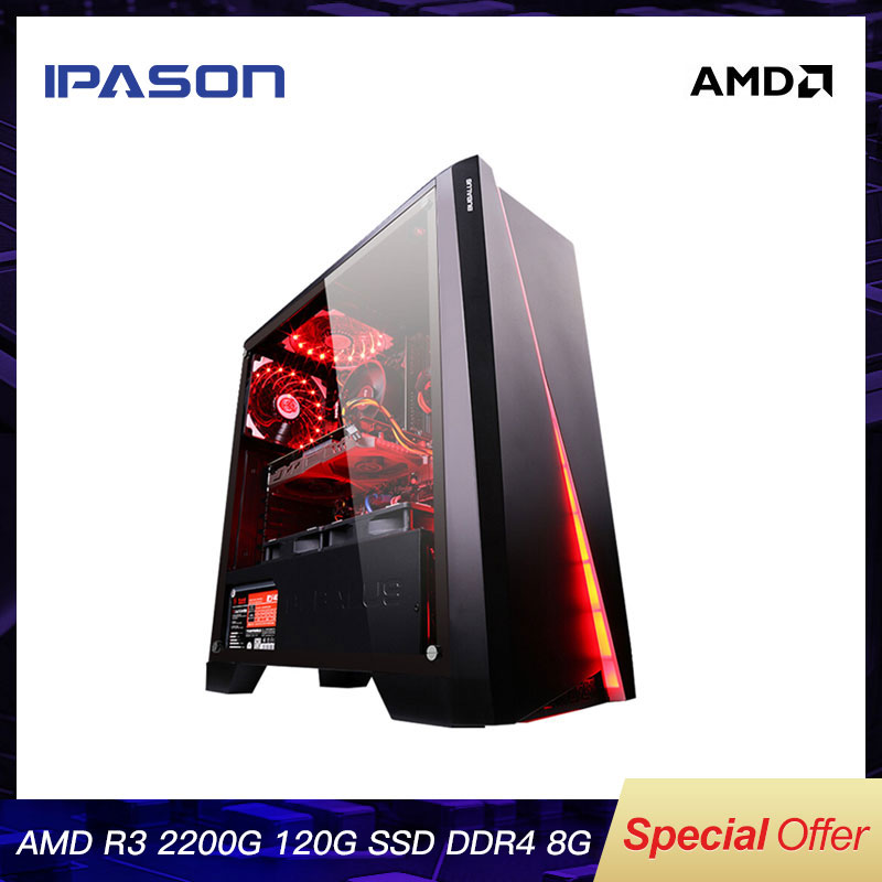 IPASON CHEAP <font><b>Gaming</b></font> PC Quad-Core AMD Ryzen3 2200G/DDR4 8G RAM/120G SSD/1T+240G SSD Desktop <font><b>Gaming</b></font> Computers