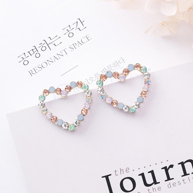 New Korean Hollow Multicolor Rhinestone Star Love Heart Stud Earrings for Women Cute Fashion Girl Ear Jewelry Brinco Gift 6G1006(China)