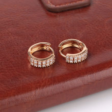 Small gold color geometry double row of zircon stone hoop earrings hoops jewelry compact ear accessories for female gifts(China)