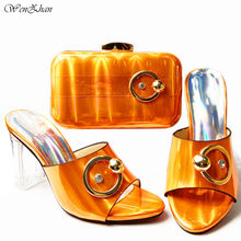 Latest Italian Women Shoes and Bag Set Hot Sales Designs Italian Shoes with Matching Bags Orange Color African Style W911-30(China)