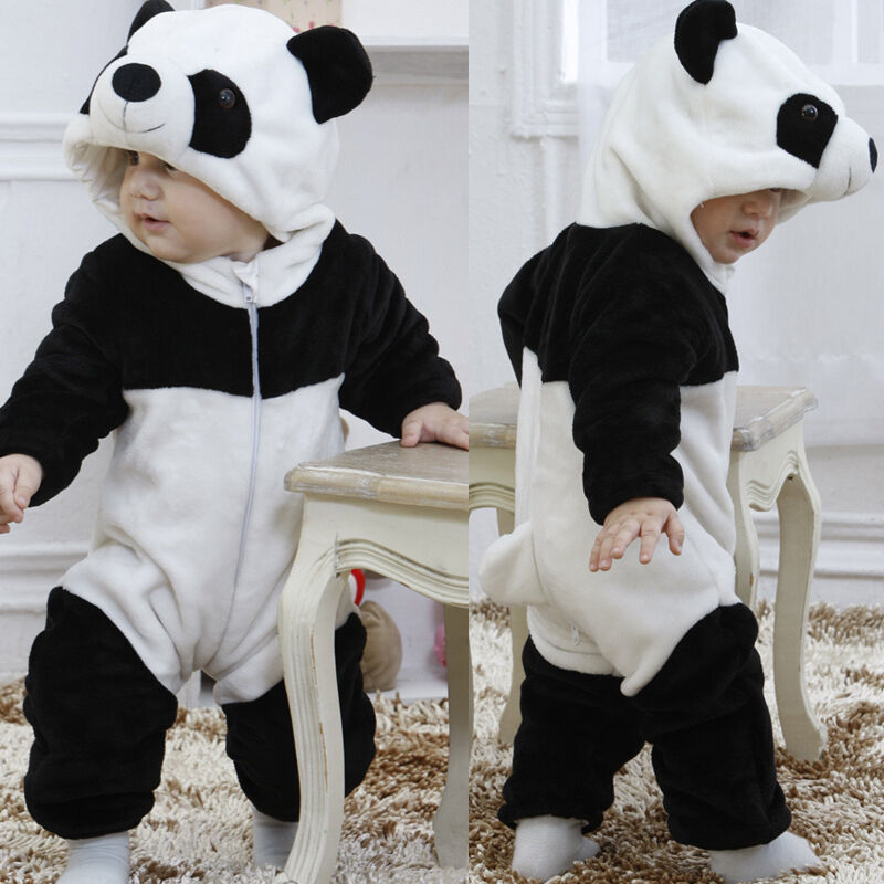 Emmababy Newest Fashion Newborn Baby Boy Girl Clothes Warm Winter Panda Animal Hooded Zipper Romper Jumpsuit One-Piece Clothes