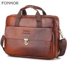 Fonmor Fashion Genuine Leather Briefcase Tote Messenger Bag Laptop Pc Work Cowhide Mens Business Shoulder Bags Office Handbag