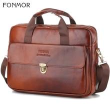 Fonmor الأزياء حقيقية حقيبة جلدية حمل رسول حقيبة كمبيوتر محمول Pc العمل جلد البقر الرجال الأعمال الكتف أكياس مكتب يد