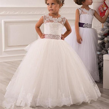 Flower Girl Dresses Vintage Jewel Sash Lace Net Baby Girl Birthday Christmas First Communion Dresses Children Girl Party Gown