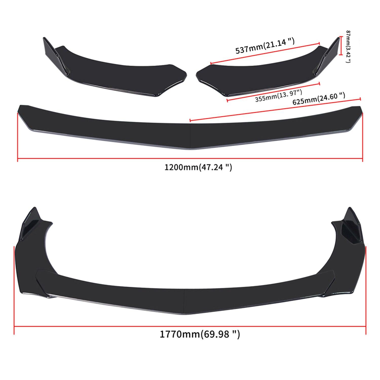 4 peças do carro amortecedor dianteiro lábio corpo kit spoiler splitter abs amortecedor canard lábio splitter universal para tesla modelo 3 sedan