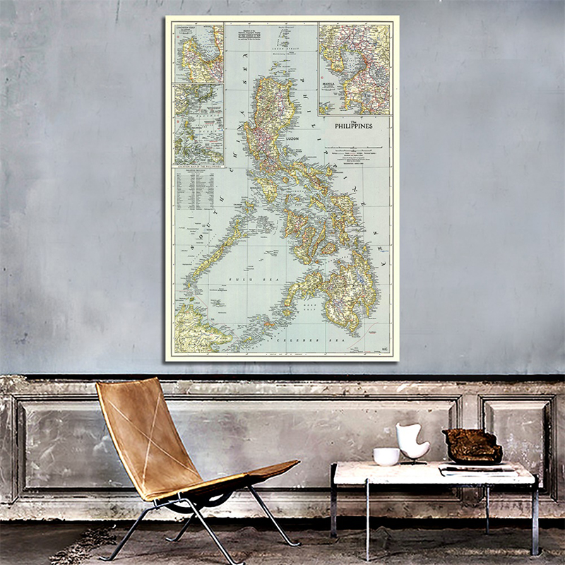A2 World Map Philippines(1945) Retro Art Paper Painting Home Decor Wall Poster Student Stationery School Office Supplies