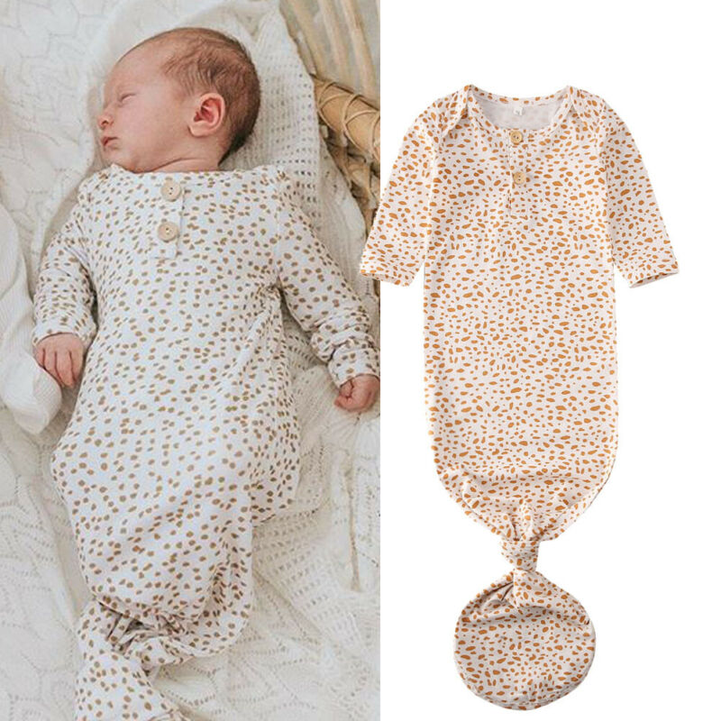 Newborn Baby Boy Girl Cotton Sleepwear Nightgown Headband Set Sleeping Bag Coming Home Outfit