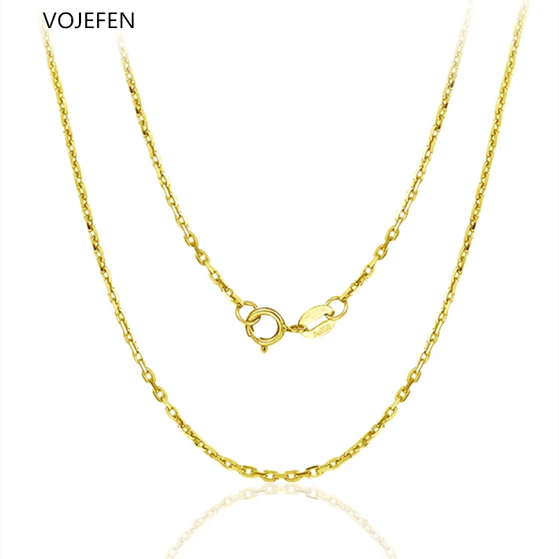 VOJEFEN AU750 18k Pure Gold Chain Rolo Fine Jewelry For Women Gifts For Her, Pendant Accessory Chain Necklaces 1