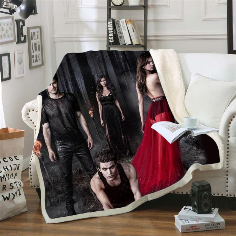 Fashion 3d Printed Fleece Blanket The Vampire Diaries Movie for Beds Thick Quilt Bedspread Sherpa Throw Blanket For Adults Kids