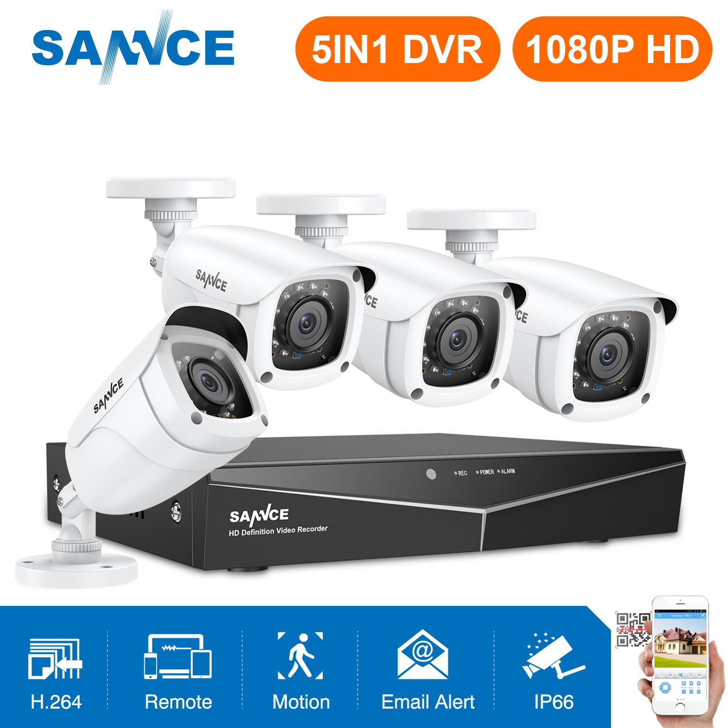 SANNCE 4CH 1080P Security CCTV System With 5IN1 1080N DVR 2PCS 4PCS 1080P IR Outdoor Weatherproof Camera Video Surveillance Kit