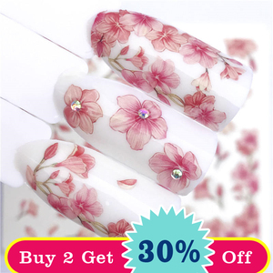 Image 2 - YWK 1 Sheet Pink Flower Water Transfer Slider for Manicure Nail Art Decoration Nail Sticker