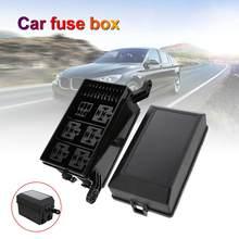 Universal 12-slot caixa de relé lâmina zekering houder 6 manier relais + 6 slot automotivo fusível suporte de relé voor auto truck boot