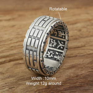 Image 2 - Real 925 Sterling Silver Rings For Men Spinner Rotatable Carving Taiji Bagua Yin Yang With Vintage Great Wall Pattern