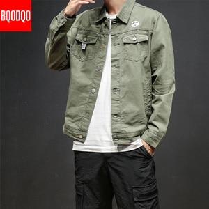 Image 4 - 6XL Baggy Jacken Schwarz Baumwolle Herbst Streetwear Fashion Armee Grün Hip Hop College Militärischen Stil Mantel Japan Bomber Jacke Männer
