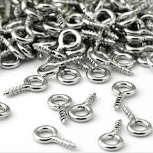 Venta al por menor 100 Uds pequeña Mini alfileres con ojetes ojal conector tornillo bucles para colgantes de 8MM x 4 MM Metal Eyepins ganchos ojales tornillo