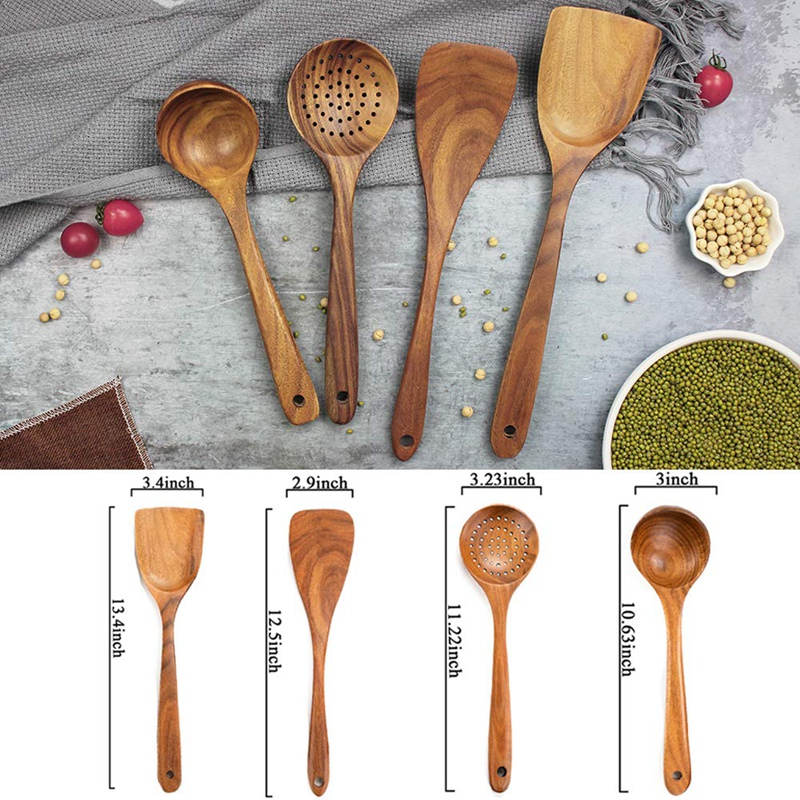 Non-stick Friendly Wooden Cooking Spatula Teak Kitchen Utensil Hand Wok Shovel