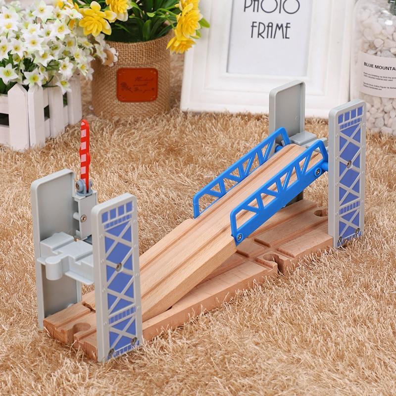 Деревянная железная дорога, набор игрушек, деревянная Двойная колода, мост, деревянные аксессуары, модель проездника, детские игрушки, детс...
