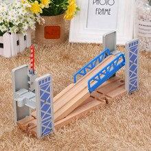 Faixas de trem de madeira brinquedos ferroviários conjunto de madeira duplo deck ponte acessórios de madeira modelo viaduto brinquedos infantis presentes
