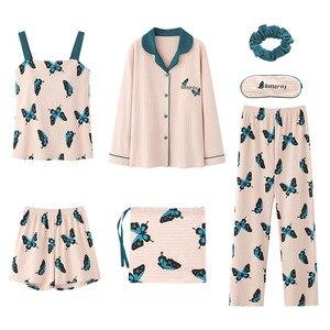 Image 5 - 2020 sommer Baumwolle Pyjamas für Frauen 7 Stück Set baumwolle Nachtwäsche Hause Kleidung Weiblichen v ausschnitt Shorts Hosen sexi schlaf tragen