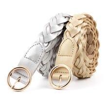 Delle donne Della Cinghia di Colore Puro Femminile Causale Jeans Dress Cinturino Intrecciato Cinghie di Vita Della Cinghia Decorativa Cintura Sottile Rotonda D'oro Spille Fibbia