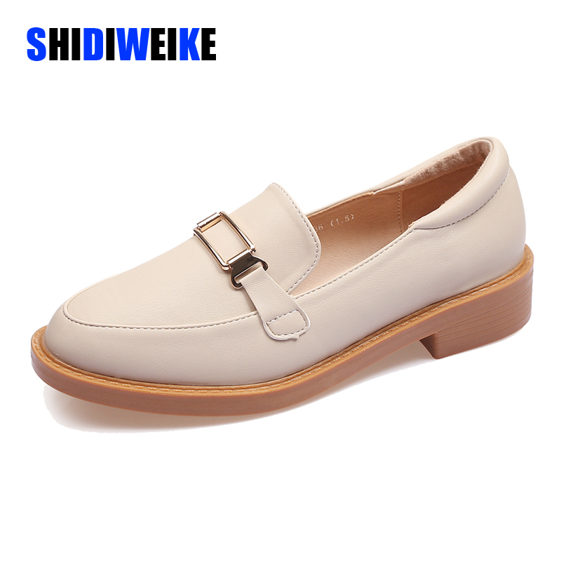 2020 European American Fashion Women's Shoes Retro Loafer Flate Small Leather Shoes Light-mouthed Single Shoes AB102