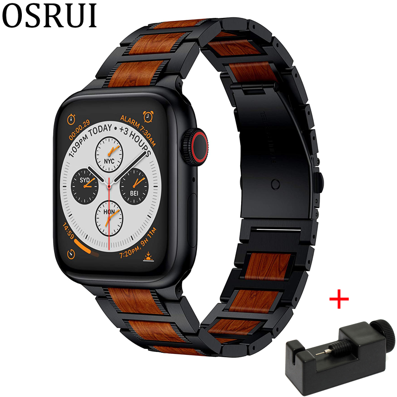 Wooden Red Sandalwood Strap For Apple Watch Band 44mm 40mm 42mm 38mm Iwatch Apple IWatch 5/4/3/2/1 Stainless Steel Link Bracelet