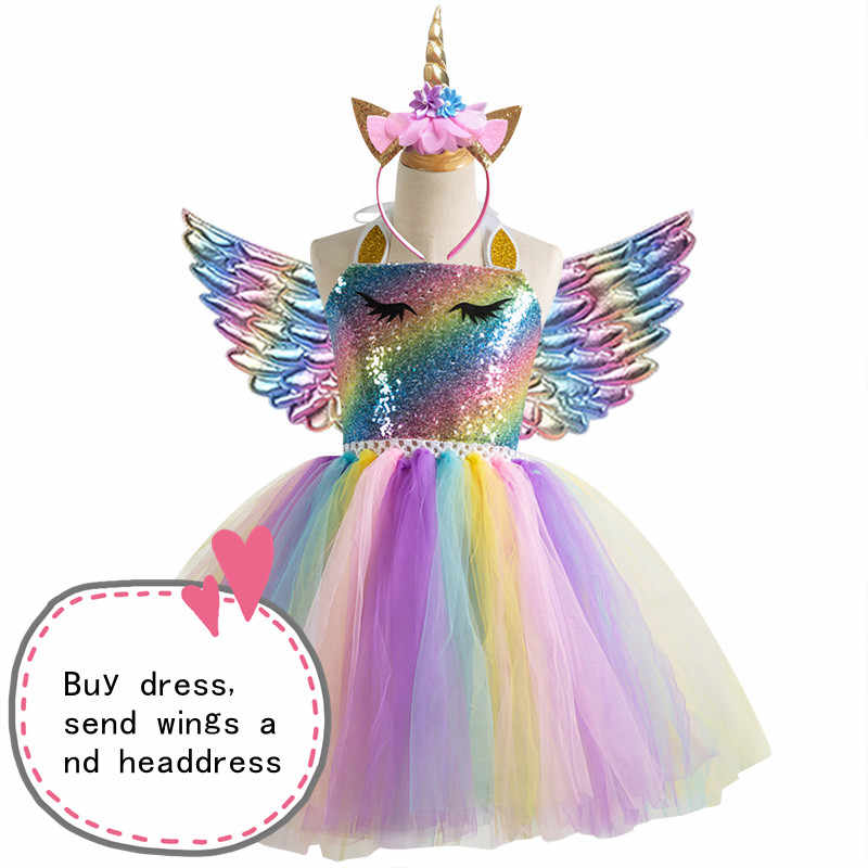 2019 Hot New Retail Girls Dress Baby Girls Unicorn Beading Floral Mesh Tutu Dresses Princess Kids Cosplay Flower Party Dress
