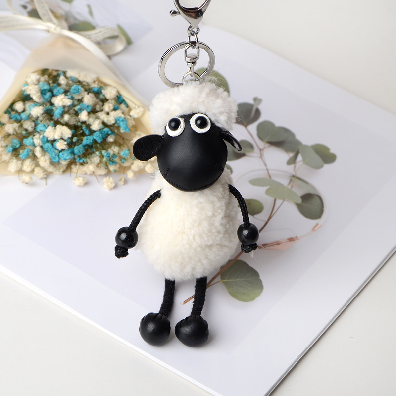 2020 New Cute Plush PU Alpaca  Keychain Creative Cartoon  Plush Little Sheep Key Chains Women Bag Pendant Jewelry Small Gift