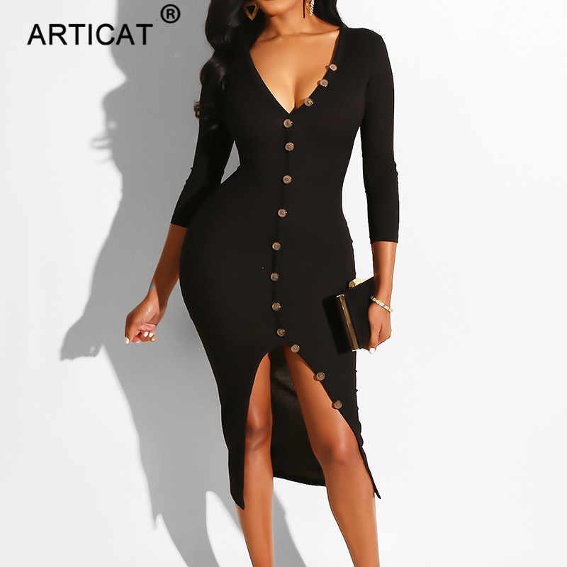 فستان حفلات مثير للنساء من Articat بأكمام طويلة وفتحة رقبة على شكل V لخريف 2020 فستان حفلات الأعياد بفتحة عالية