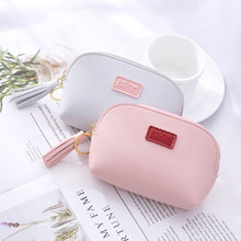 2019 Fashion Tassel Women's Coin Purse Top Leather Woman Change Wallet Case Clutch Letter Porte High Capacity Card Key Money Bag(China)
