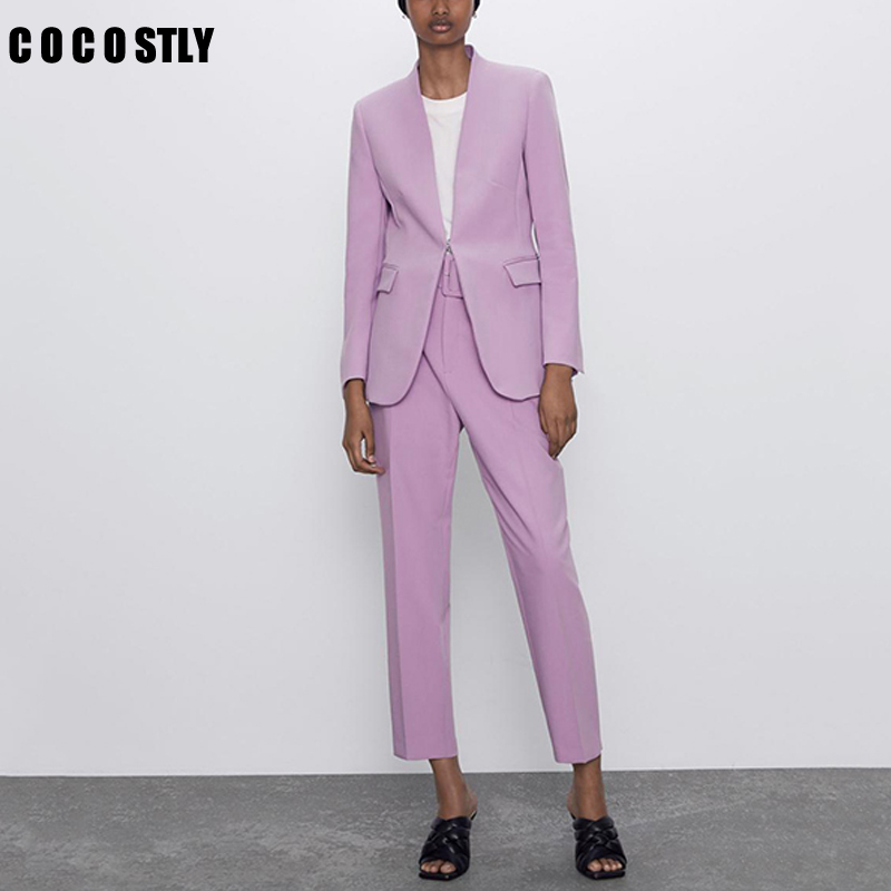 Purple Women Suits Elegant Office Ladies Work Blazer Set Two Piece Set Business OL Costume Femme Pants Suit 2020