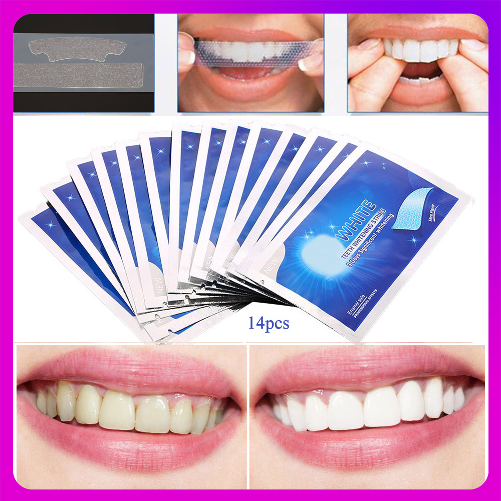 7/14Pairs Teeth Whitening Strips Stain Removal White Gel Tooth kit Oral Hygiene Care Clean Strip Bleaching Tools(China)