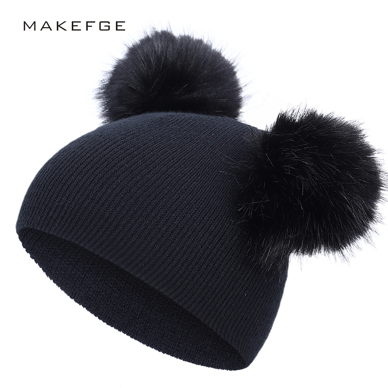 Cute Kids Winter Hat Pom-pom Boys Girls Solid Color Knit Caps Fun Puff Hats High Quality Cotton Children Comfortable Warm Peas