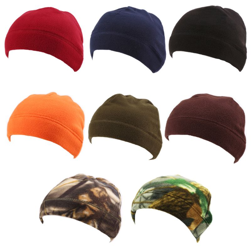 Mens Winter Warm Outdoor Faux Fleece Round Melon Hat Camo Camouflage Solid Color Windproof Military Tactical   Beanie   Skull Cap