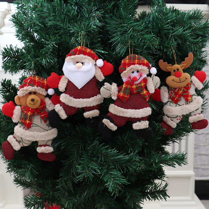 4Pcs Christmas Hang Decoration Snowman Tree Hanging Ornaments Gift Santa Claus Elk Reindeer Toy Doll Decorations