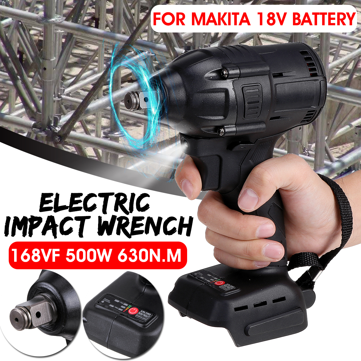 Drillpro 630nN m Cordless Brushless Electric Impact Wrench 1 2   Socket Wrench Power Tool Rechargeable For 18V Makita Battery