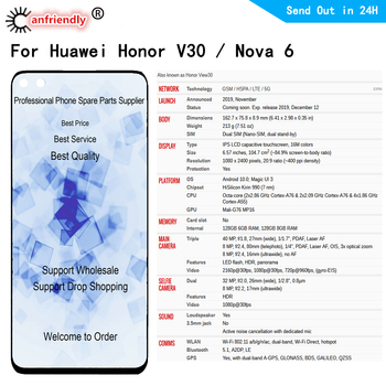 For Huawei Nova 6 for Honor V30 LCD Display Touch panel Screen Digitizer Module with frame Assembly for Honor View 30 / V30
